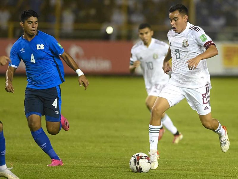SAN SALVADOR, EL SALVADOR - OCTOBER 13: Carlos Rodríguez from Mexico controls the ball during the match between El Salvador and Mexico as part of the Concacaf 2022 FIFA World Cup Qualifier at Cuscatlan Stadium on October 13, 2021 in San Salvador, El Salvador. (Photo by Alex Peña/Getty Images)